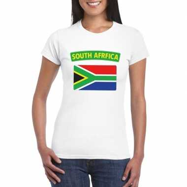 T-shirt wit zuid afrika vlag wit dames