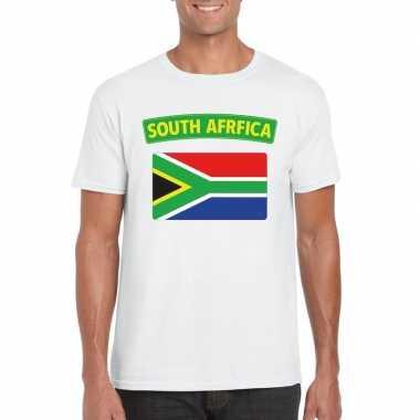 T-shirt wit zuid afrika vlag wit heren