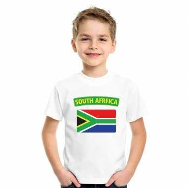T-shirt wit zuid afrika vlag wit jongens en meisjes