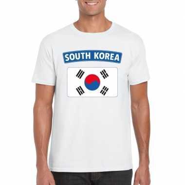 T-shirt wit zuid korea vlag wit heren