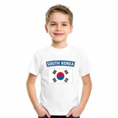 T-shirt wit zuid korea vlag wit jongens en meisjes