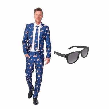 Gra Heren Amerikaanse Maat 46 Met Kostuum Verkleed Net s Print Vlag UnTaR