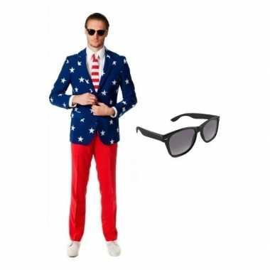 Verkleed met amerikaanse vlag print heren kostuum maat 52 (xl) met gr