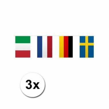Vlaggenlijn europese landen 3 stuks