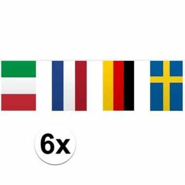 Vlaggenlijn europese landen 6 stuks