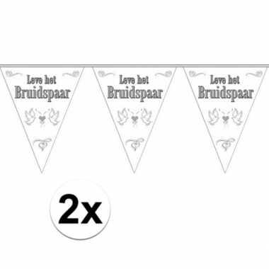 Vlaggenlijnen voor het huwelijks bruidspaar 2x stuks