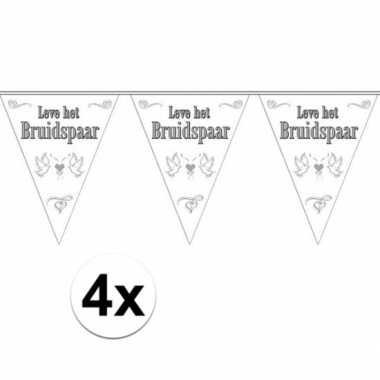 Vlaggenlijnen voor het huwelijks bruidspaar 4x stuks