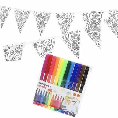 Vlaggetjes inkleuren incl. stiften voor kinderen