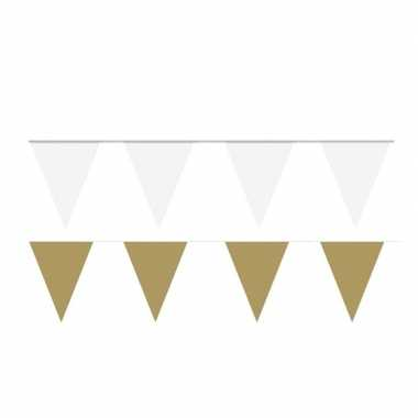 White and gold thema party vlaggetjes
