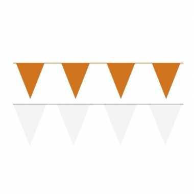White and orange thema party vlaggetjes