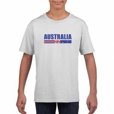 Wit australie supporter t-shirt voor kinderen