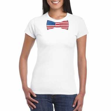 Wit t-shirt met amerika vlag strikje dames