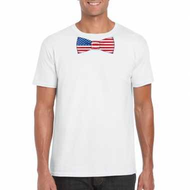 Wit t-shirt met amerika vlag strikje heren