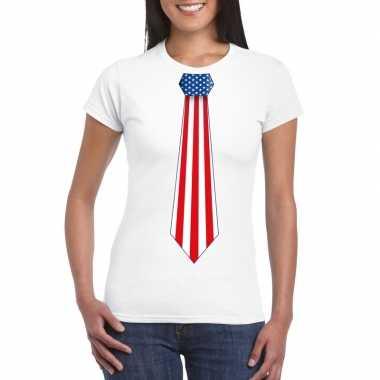 Wit t-shirt met amerika vlag stropdas dames