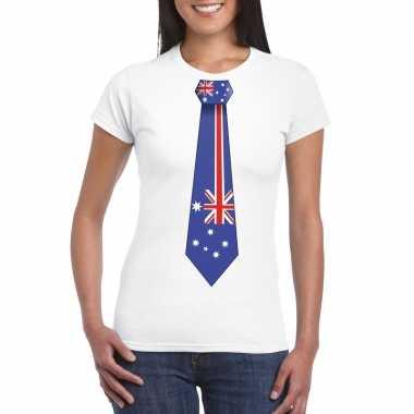 Wit t-shirt met australie vlag stropdas dames