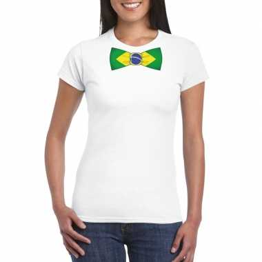 Wit t-shirt met brazilie vlag strikje dames