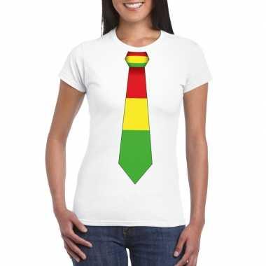 Wit t-shirt met limburgse vlag stropdas voor dames