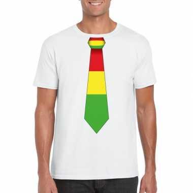 Wit t-shirt met limburgse vlag stropdas voor heren