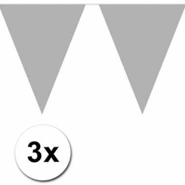 Zilveren vlaggenlijnen 3 x