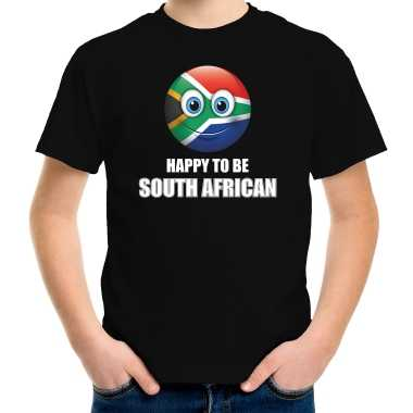 Zuid-afrika emoticon happy to be south african landen t-shirt zwart kinderen