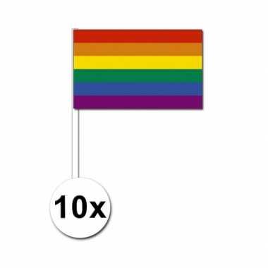 Zwaaivlaggen met regenboog 10 stuks