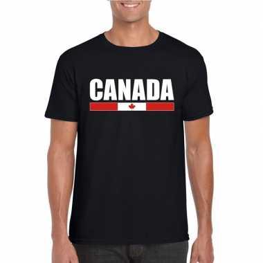 Zwart canada supporter t-shirt voor heren