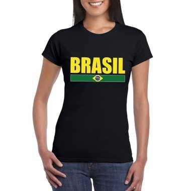 Zwart/ geel brazilie supporter t-shirt voor dames