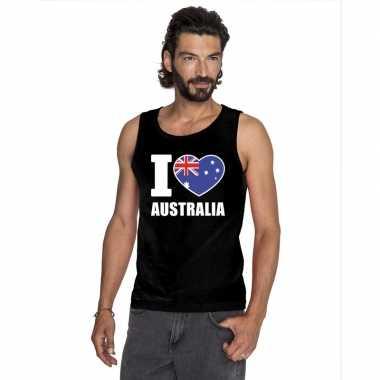 Zwart i love australie fan singlet shirt/ tanktop heren