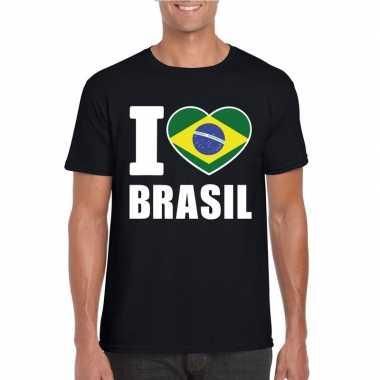 Zwart i love brazilie fan shirt heren