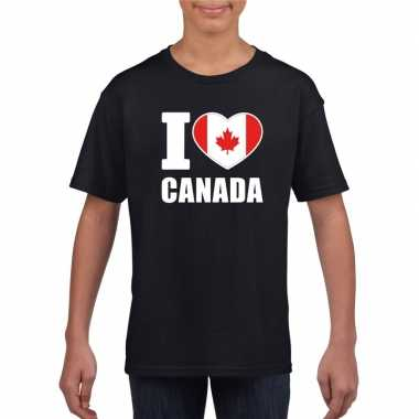 Zwart i love canada fan shirt kinderen