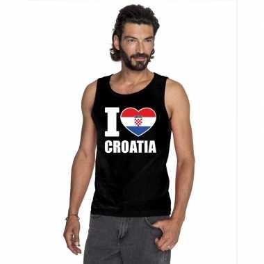 Zwart i love kroatie fan singlet shirt/ tanktop heren