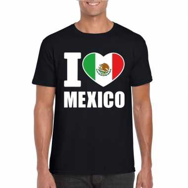 Zwart i love mexico fan shirt heren