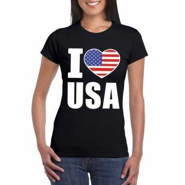 Zwart i love usa - amerika fan shirt dames