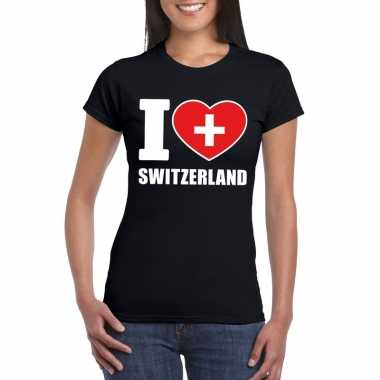 Zwart i love zwitserland fan shirt dames