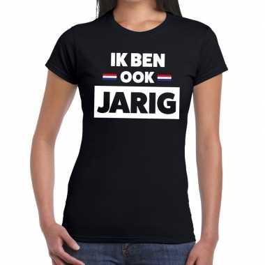 Zwart ik ben ook jarig t-shirt voor dames