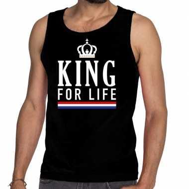 Zwart king for life tanktop / mouwloos shirt voor