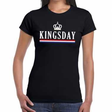 Zwart kingsday met hollandse vlag en kroontje t-shirt voor dames