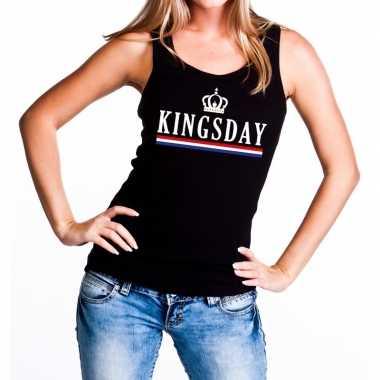 Zwart kingsday tanktop / mouwloos shirt voor dames