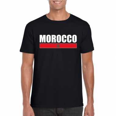Zwart marokko supporter t-shirt voor heren