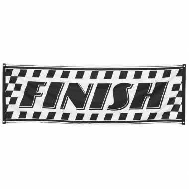 Zwart met wit finish spandoek 74 x 220 cm
