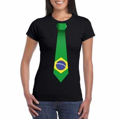 Zwart t-shirt met brazilie vlag stropdas dames