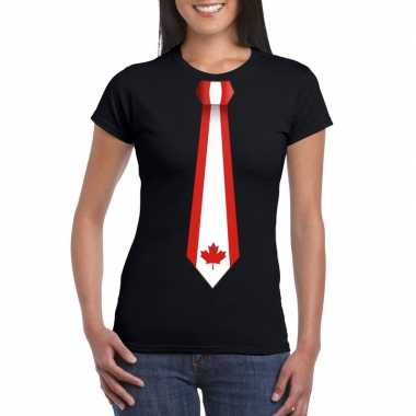 Zwart t-shirt met canada vlag stropdas dames