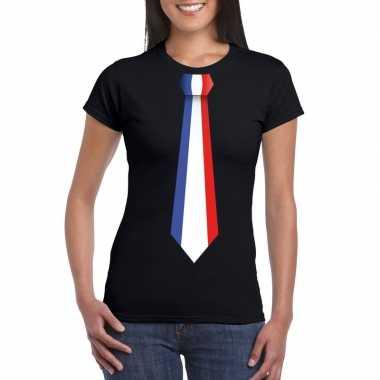 Zwart t-shirt met frankrijk vlag stropdas dames
