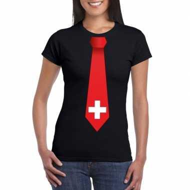 Zwart t-shirt met zwitserland vlag stropdas dames