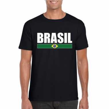 Zwart/ wit brazilie supporter t-shirt voor heren