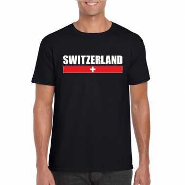 Zwart zwitserland supporter t-shirt voor heren
