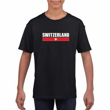 Zwart zwitserland supporter t-shirt voor kinderen