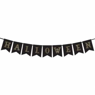 Zwarte halloween decoratie vlaggenlijnen/slingers 175 cm