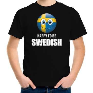 Zweden emoticon happy to be swedish landen t-shirt zwart kinderen