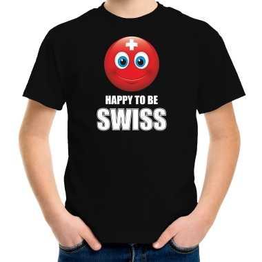 Zwitserland emoticon happy to be swiss landen t-shirt zwart kinderen